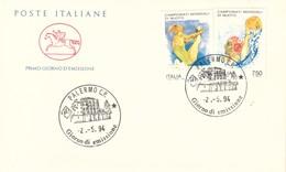 ITALIA 1994 - FDC ITALIA CAVALLINO PALERMO C.P. - CAMPIONATI MONDIALI DI NUOTO. 2-5-1994.+3 - F.D.C.