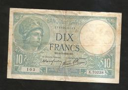 FRANCE - BANQUE De FRANCE - 10 Francs MINERVE (NO. 6 - 7 - 1939) - 1871-1952 Antichi Franchi Circolanti Nel XX Secolo