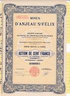 Th3MINES : ANJEAU ST-FELIX - Action De 100 Frs1928 (06) - Actions & Titres