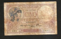 FRANCE - BANQUE De FRANCE - 5 Francs VIOLET (XE. 24 - 8 - 1939) - 5 F 1917-1940 ''Violet''