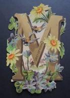 Découpi Ancien. Chocolat  LOUIT.  ALPHABET.  Lettre  M    Marguerites.  Violettes.   11,5 X 8 Cm - Non Classificati