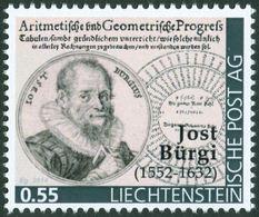 "BÜRGI, J. - Liechtenstein 2014, MNH ** - Mathematics, Mathematiques, First Of Logarithms (1620) - "" Die Marke"" - Uhrmacherei"