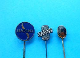 TIRES ( Semperit Trayal Record ) - Lot Of 3. Vintage Pin Badge Tyre Tire Tyres Gum Pneu Reifen Pneumatico Gomma - Badges