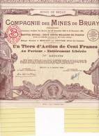 Th3MINES : BRUAY - 1/3 D'action De 100 Frs1939 (09) - Actions & Titres