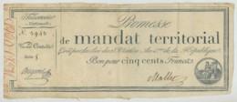 Promesse De Mandat Territorial Créé Par La Loi Du 28 Ventôse An IV . Bon Pour 500 F . Série 5 . N° 3943 . - ...-1889 Anciens Francs Circulés Au XIXème