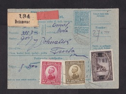 Yugoslavia: Stationery Parcel Card, 1922, 3 Extra Stamps, Value Overprint, Label Dezanovac, SHS (traces Of Use) - 1919-1929 Royaume Des Serbes, Croates & Slovènes