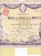 Th3MINES : MARLES - Titre Nominatif1906 (11) - Actions & Titres