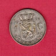 NETHERLANDS   1 GULDEN SILVER 1955  (KM # 184) #5188 - 1948-1980 : Juliana