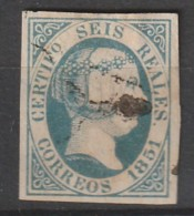 ESPAGNE - N° 10  Obl (1851) 6 R Bleu - Isabelle II - Gebruikt