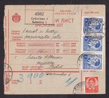 Yugoslavia: Parcel Card, 1933, 4 Stamps, Label Subotica (minor Damage) - Brieven En Documenten