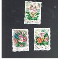 ITALIA REPUBBLICA  - SASS. 1548.1550   -      1981   FIORI    -      USATO - 1946-.. République