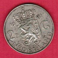 NETHERLANDS   2 1/2 GULDEN SILVER 1961  (KM # 185) #5189 - [ 3] 1815-… : Kingdom Of The Netherlands