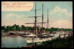 Spain Sevillla JAHIS MARGARITA Y MAROUSSIA Barcos Yahts Ship Port - Old Postcard PURGER Espana - Sevilla