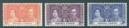 SIERRA LEONE  - MNH/**. - 1937 - CORONATION - Yv 155-157 -  Lot 18423 - Sierra Leone (...-1960)