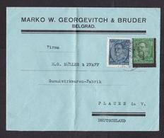 Yugoslavia: Cover To Germany, 1930s, 2 Stamps, 1 Mourning Stamp With Overprint Perforation Error (damaged: Fold) - 1931-1941 Koninkrijk Joegoslavië