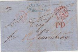 """ALLEMAGNE : MP. EN PD .DE FRANCFORT . CACHET D'ENTREE EN ROUGE . """" TOUR T WISSEMB """" .TB . 1867 . - Allemagne"""