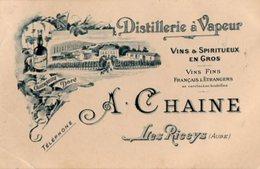 VP13.516 - CDV - Carte De Visite - Distillerie à Vapeur A. CHAINE à LES RICEYS ( Aube ) - Cartes De Visite