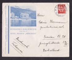 Yugoslavia: Cover Makarska To Germany, 1939, 1 Stamp, From Hotel Primordia, Podgora (minor Creases) - 1931-1941 Koninkrijk Joegoslavië