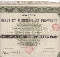 Th3MINES : PROVENCE - Action De 100 Frs1928 (13) - Actions & Titres