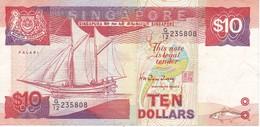 BILLETE DE SINGAPORE DE 10 DOLLARS DEL AÑO 1988 (BANKNOTE) BARCO-SHIP - Singapur