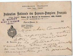 VP13.518 - MILITARIA - Carte De La Fédération Nationale Des Sapeurs - Pompiers Français à PARIS & PORT A BINSON - Pompiers