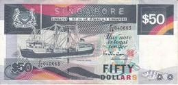 BILLETE DE SINGAPORE DE 50 DOLLARS  (BANKNOTE) BARCO-SHIP - Singapur