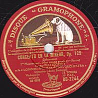78 Trs  30 Cm état TB  CONCERTO EN LA MINEUR Op.129 (Schumann) Violoncelle 1er Mouv. 1re Et 2e Parties LONDON ORCHESTRA - 78 T - Disques Pour Gramophone