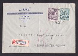 Yugoslavia: Registered Cover To Germany, 1955, 3 Stamps, Labour, R-label Zagreb (minor Damage, See Scan) - 1945-1992 Socialistische Federale Republiek Joegoslavië