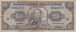 BILLETE DE ECUADOR DE 100 SUCRES DEL AÑO 1966 (BANKNOTE) RARO - Equateur