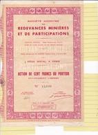 Th3MINIERES : REDEVANCES - Action De 100 Frs1938 (17) - Actions & Titres