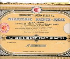 Th3MINOTERIE : Ste-ANNE - Action De 500 Frs1931 (18) - Actions & Titres