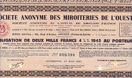 Th3MIROITERIES : De L'OUEST - Obligation De 2000 Frs1945 (19) - Actions & Titres