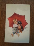 Illustrateur Karl Feiertag - Enfant Et Son Chien (Teckel) - Parapluie - N°454-3 - Feiertag, Karl
