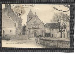 36-CLION-sur-INDRE-(Chatillon)-Une Vue Animée De La Plaçe De L'Eglise -Magasin-Attelage - France
