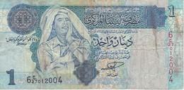 BILLETE DE LIBIA DE 1 DINAR DEL AÑO 2004 (BANKNOTE) GADAFI - Libya