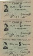 """3 BON POUR 5 CENTIMES DE MARCHANDISES SOCIÉTÉ DES TIMBRES PRIMES """"L'AGENAISE"""" (47) - Monétaires / De Nécessité"""