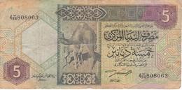BILLETE DE LIBIA DE 5 DINARS DEL AÑO 1991 (BANKNOTE) - Libye