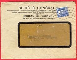 -- LETTRE à ENTÊTE - SOCIETE GENERALE - BUREAU De VERNON (Eure) + TIMBRE FISCAL 7 Frs Sur Reçu -- - Bank & Insurance