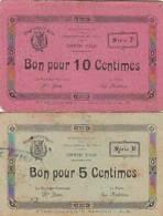 2 BON POUR 5 ET 10 CENTIMES COMMUNE D'ALBI (81) 1914-18 - Monétaires / De Nécessité