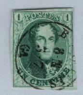 9  1c Vert   4 Marges   Cote 140,-€  Ø Légère, Effigie Dégagée - 1858-1862 Medaillen (9/12)