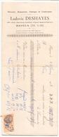 Chèque  Ludovic Deshayes Mercerie Fabrique De Confections à Bayeux Du 22 Juin 1933 - Cheques & Traveler's Cheques