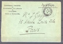 L  053  -  Occupation De La Haute Silésie, Lettre De La Commission Interalliée Beuthen Ville - Marcofilia (sobres)