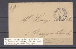L  050  -  Occupation De La Haute Silésie, Tresor Et Postes 184 En Bleu , Rare Aduré 8 Jours - Military Postmarks From 1900 (out Of Wars Periods)