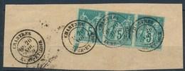 France-type Sage YT 75 - 5c Vert Bande De 3 Sur Fragment - 1876-1898 Sage (Tipo II)