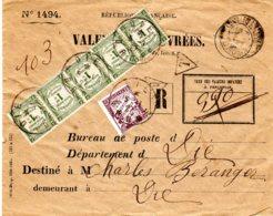 Lettre Recommandée Valeurs à Recouvrer De Die  05/11/27  Tim. Recouv. 40 C + T. Taxe 50c =90 C - Marcophilie (Lettres)