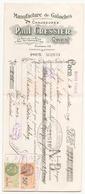 Chèque Paul Cressier Manufacture De Galoches Et Chaussures à Caen Du 31 Juillet 1929 - Cheques & Traveler's Cheques