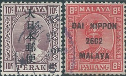 Malaya Malaysia Malesia 1942/1942 Perak 10c And 8c Used Sultan Iskandar Japanese Occupation - Occupazione Giapponese