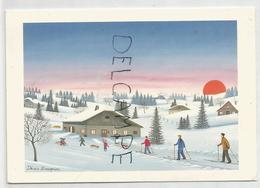 """Reproduction D'une Peinture Naïve De Denis Bauquier: """"Le Retour Des Skieurs"""". - Schilderijen"""