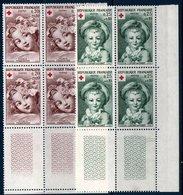 FRB  1962  Croix-rouge N°YT 1366-1367  ** MNH Blocs De 4 Coin De Feuille - Neufs