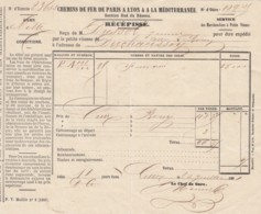 RECEPISSE CHEMIN DE FER PLM - PETITE VITESSE - GARE DE CETTE (SETE) - DUSSOL 1865 - Transports